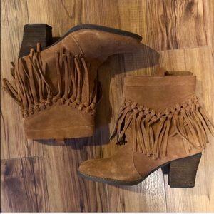 Tan Fringe Boho Ankle Boot